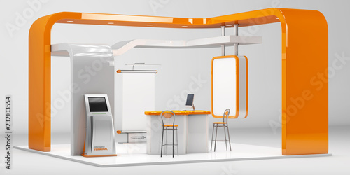 Fototapeta 3d Illustrated unique creative exhibition stand display design with table and chair, info board, roll up