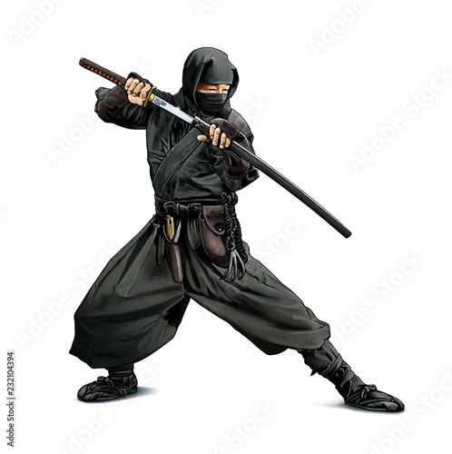 Illustration couleurs d'un guerrier Ninja armé d'un sabre Katana Canvas Print