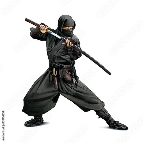 Photo Illustration couleurs d'un guerrier Ninja armé d'un sabre Katana