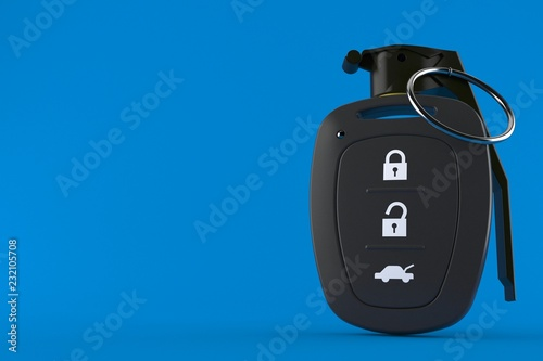 Car remote key with hand grenade fuse - Buy this stock illustration