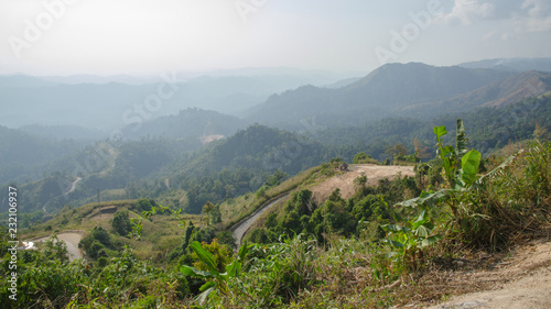 Deurstickers Bleke violet Scenic hillside of mountain. Autumn landscape.16:9