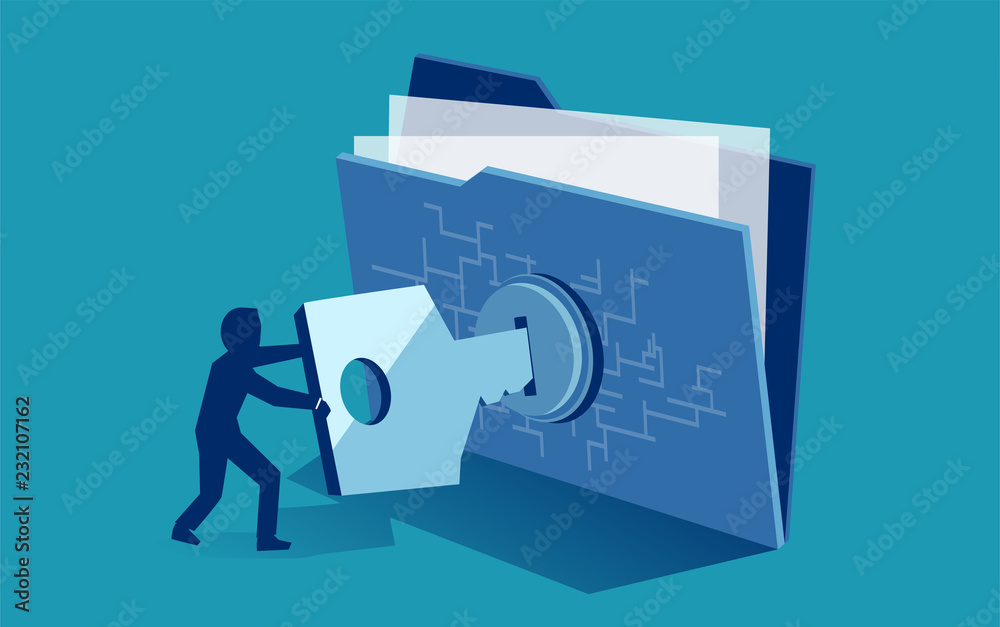 Fototapeta Cyber security digital file protection. Vector of man using security key to access digital file