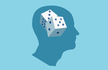 Vector Of A Human Head With Dice Inside.