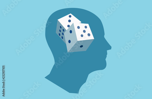 Cuadros en Lienzo Vector of a human head with dice inside.