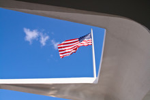 American Flag Viewed From The USS Arizona Memorial