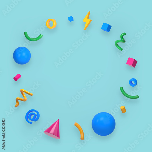 Obraz na plátně Abstract colored geometric shapes on green background. 3d render