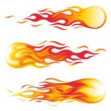 Fireball Vector Illustration Set