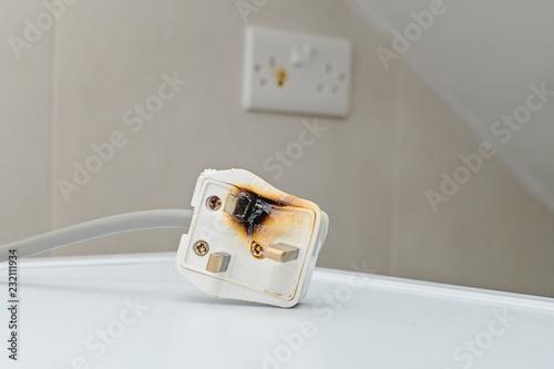 Burned 250V uk style socket and converter Wallpaper Mural