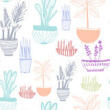 Hand drawn houseplants. Colored graphic vector seamless pattern - 232112386