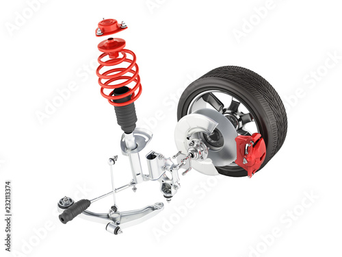 Carta da parati Suspension of the car in details with wheel isolated on white background 3d with