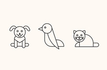 Bird, Dog, Cat Icons, Thin Lin...