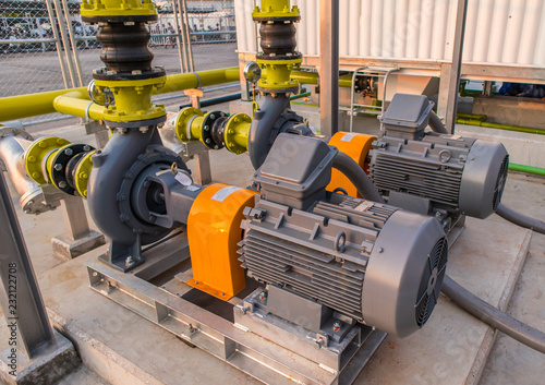 Canvas Print Water pump motor Pressure in factory Industrial