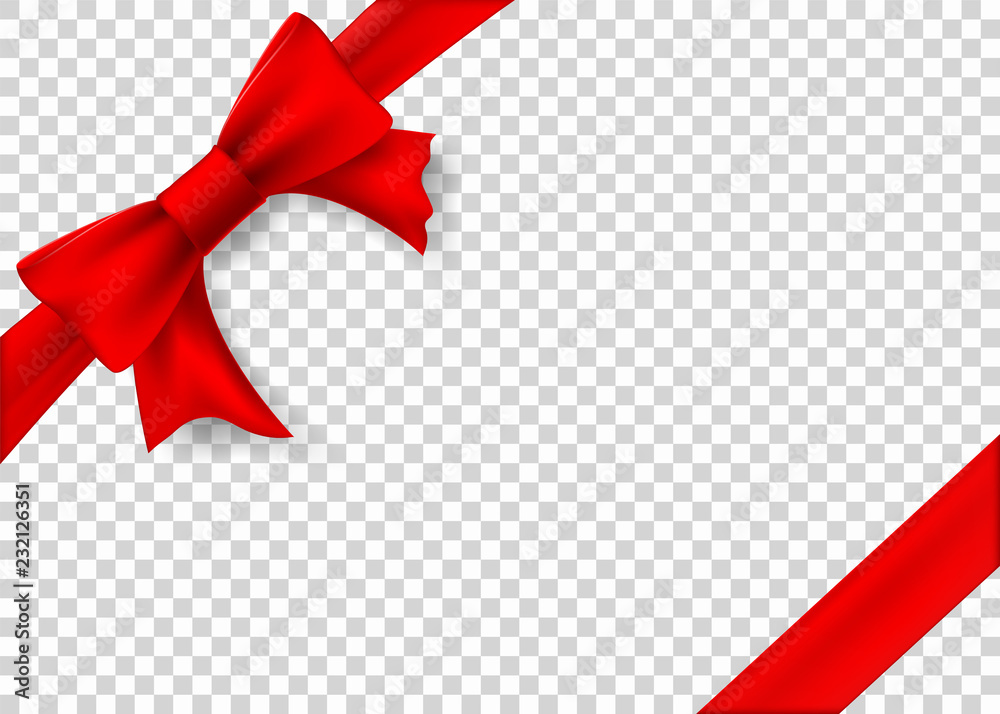 Fototapeta Red ribbon with bow for gift box. Template isolated on a transparent background.