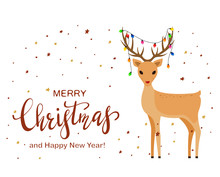 Cute Deer And Lettering Merry Christmas