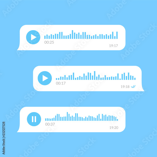 White voice messages bubbles on blue background . Fototapet