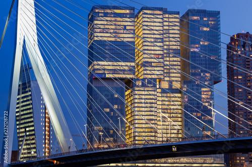 Staande foto Rotterdam Cityscape at twilight near the Erasmus bridge in Rotterdam