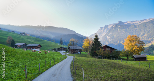 Spoed Foto op Canvas Blauwe hemel Landscape with mountain village in autumn