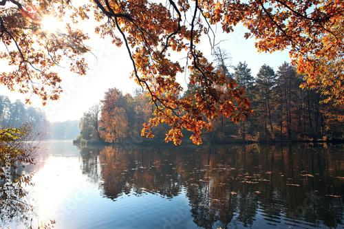 beautiful colorful autumn landscape with lake