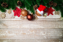 Christmas Card. Christmas Background With Christmas Fir Tree, Pine Cones, Decorations And Ornaments. Winter Holidays Concept.Top View, Copy Space