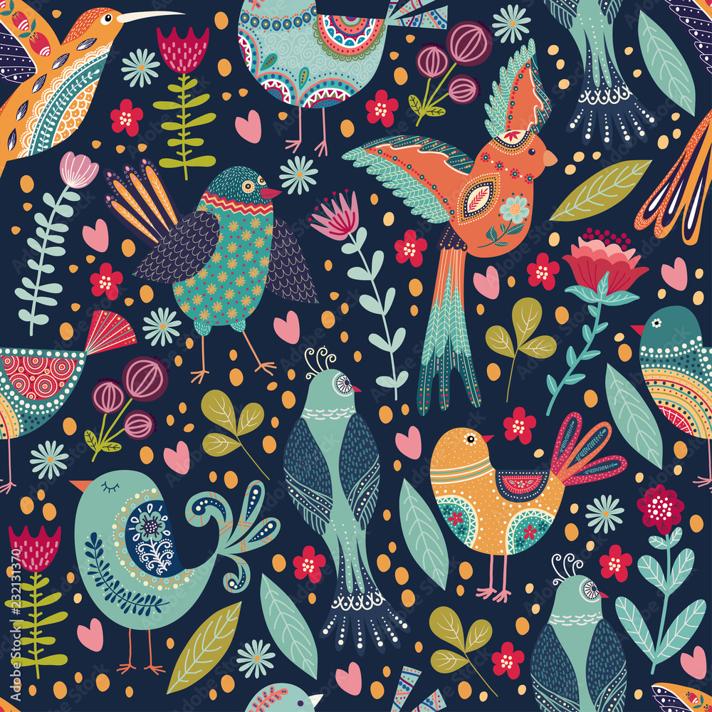 Vector elegant childish seamless pattern with cute beautiful birds and flowers. Folk background in cute cartoon style.