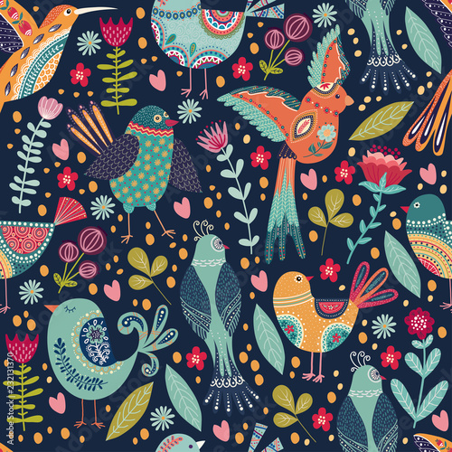Vector elegant childish seamless pattern with cute beautiful birds and flowers Tableau sur Toile