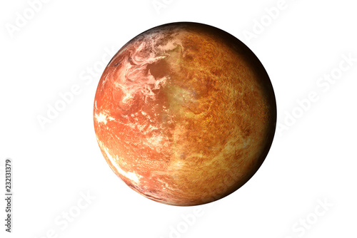 Foto op Plexiglas Nasa Half planet Mars with atmosphere with half Venus planet of solar system isolated on white background. Death of the planet. Elements of this image were furnished by NASA. For any purprose use.