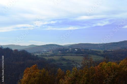 landscape of the village in autumn
