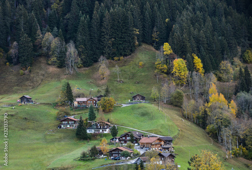 Staande foto Olijf Landscape with mountain village in autumn