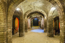 Wine Cellar With Wine Barrels ...