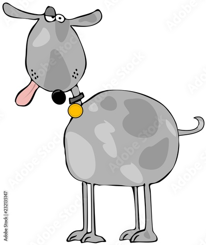 Платно Illustration of a goofy looking spotted gray dog with its tongue hanging out
