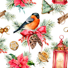 Watercolor Christmas Pattern With Holiday Symbols. Hand Painted Bullfinch, Lantern With Candle, Poinsettia, Holly, Mistletoe, Pine Cones, Cookies, Cinnamon, Fir Branch Isolated On White Background.
