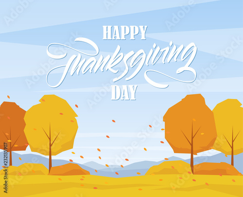 Wall Murals Green coral Autumn landscape with trees, hand lettering of Happy Thanksgiving Day and fall leaves.