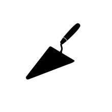 Trowel Tool Simple Icon, Logo On White Background