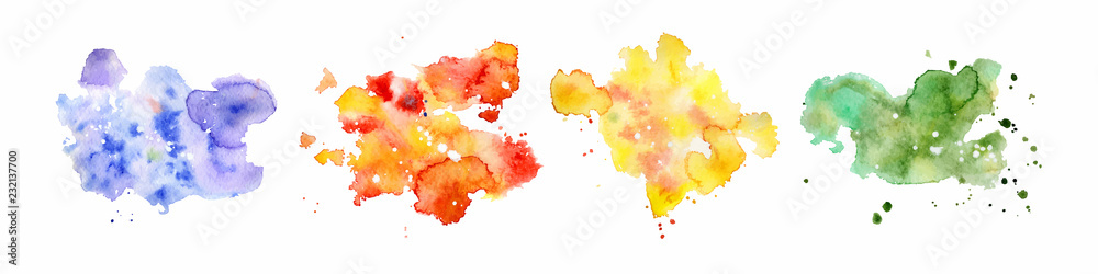 Fototapety, obrazy: Abstract watercolor shapes on white background. Color splashing hand drawn vector painting
