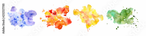 Foto auf Leinwand Formen Abstract watercolor shapes on white background. Color splashing hand drawn vector painting