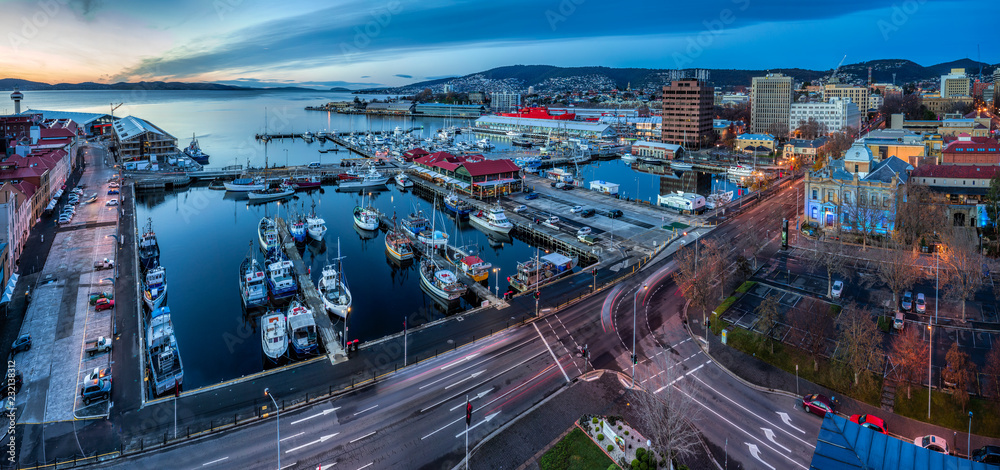 Fototapety, obrazy: Hobart Australia June 18th 2016 : Hobart waterfront panoramic at sunrise, aerial perspective