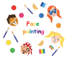 Face Painting For Kids Poster, Collection. Vector Illustration. Eps10