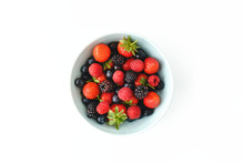 Bowl Filled With Strawberries, Raspberries, Blackberries And Blueberries