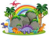 Fototapeta Dinusie - Many dinosaur  in nature