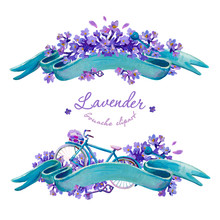 Gouache Banners With Lavender. In Lilac And Turquoise Colors.