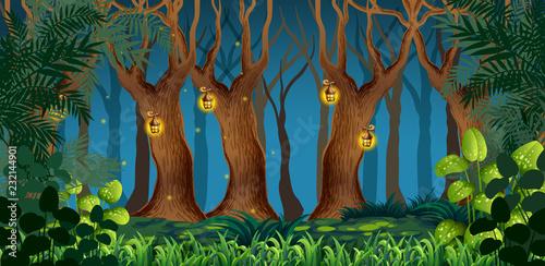 Photo sur Toile Jeunes enfants Fairy dark forest landscape