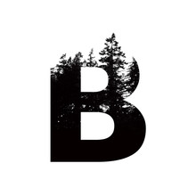 Letter B Hipster Wilderness Font Lettering. Outdoor Adventure.