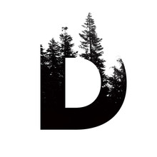 Letter D Hipster Wilderness Font Lettering. Outdoor Adventure.