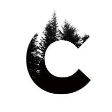 Letter C Hipster Wilderness Font Lettering. Outdoor Adventure.