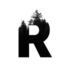 Letter R Hipster Wilderness Font Lettering. Outdoor Adventure.