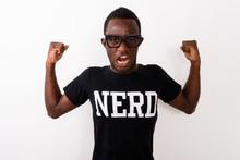 Studio Shot Of Young Black African Geek Man Wearing Nerd Shirt W