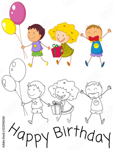 Doodle children celebrate birthday