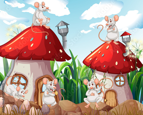 Staande foto Kids Mouse at mushroom house