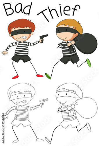 Staande foto Kids Doodle bad thief character