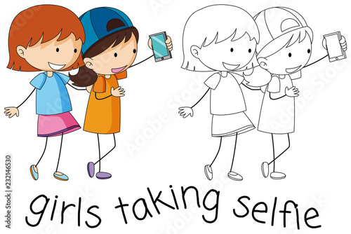 Staande foto Kids Doodle girls taking selfie